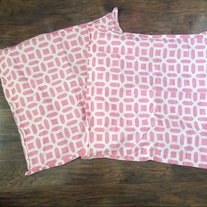 Pottery Barn Teen pink and white Euro Shams